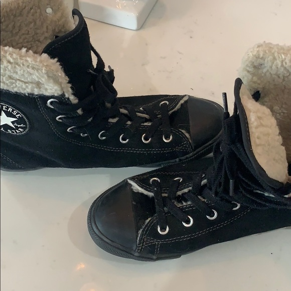 Chuck Taylor's with fur trim
